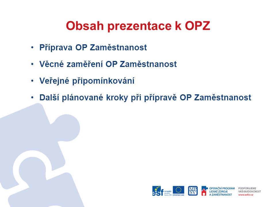 Obsah prezentace k OPZ Příprava OP Zaměstnanost Věcné zaměření OP Zaměstnanost Veřejné připomínkování Další plánované kroky při přípravě OP Zaměstnanost