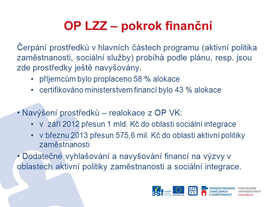 OP LZZ – pokrok finanční Čerpání prostředků v hlavních částech programu (aktivní politika zaměstnanosti, sociální služby) probíhá podle plánu, resp. j