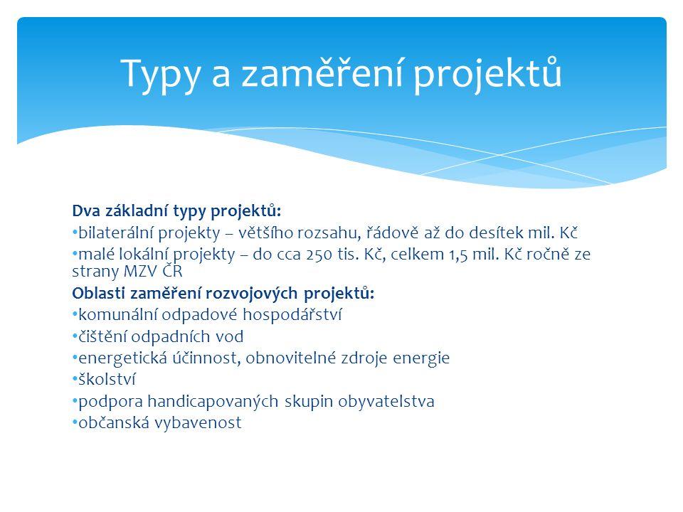 Dva základní typy projektů: bilaterální projekty – většího rozsahu, řádově až do desítek mil.