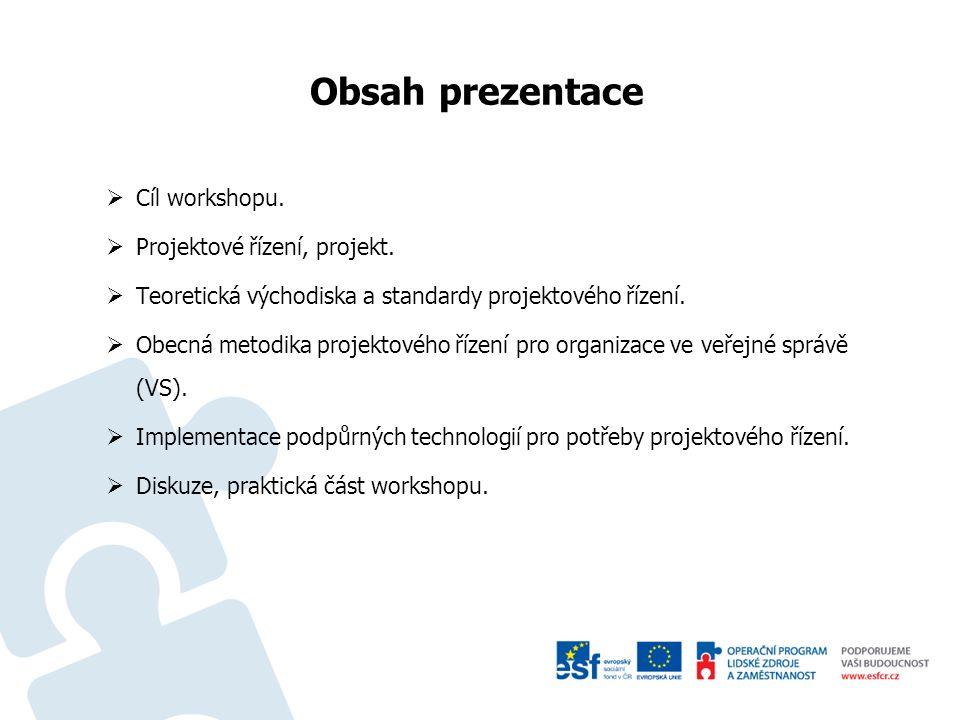 """Řídíme projektově Cíle workshopu –pomoci řešitelům při implementaci projektového řízení v organizacích VS prostřednictvím tvorby metodiky zaměřené na projektové řízení –síťování řešitelů s metodiky z řad zaměstnanců a smluvních partnerů OPŘ MV, praktické prezentace stávajících systémů ve vybraných organizacích Zaměření workshopu –seznámení zástupců veřejné správy s projektem Ministerstva vnitra """"Koordinace a zavedení Smart Administration ve veřejném sektoru –seznámení zástupců VS s principy projektového řízení –prezentace příkladů dobré praxe v oblasti zefektivnění fungování VS –výměna zkušeností a síťování organizací VS se zástupci OPŘ MV"""