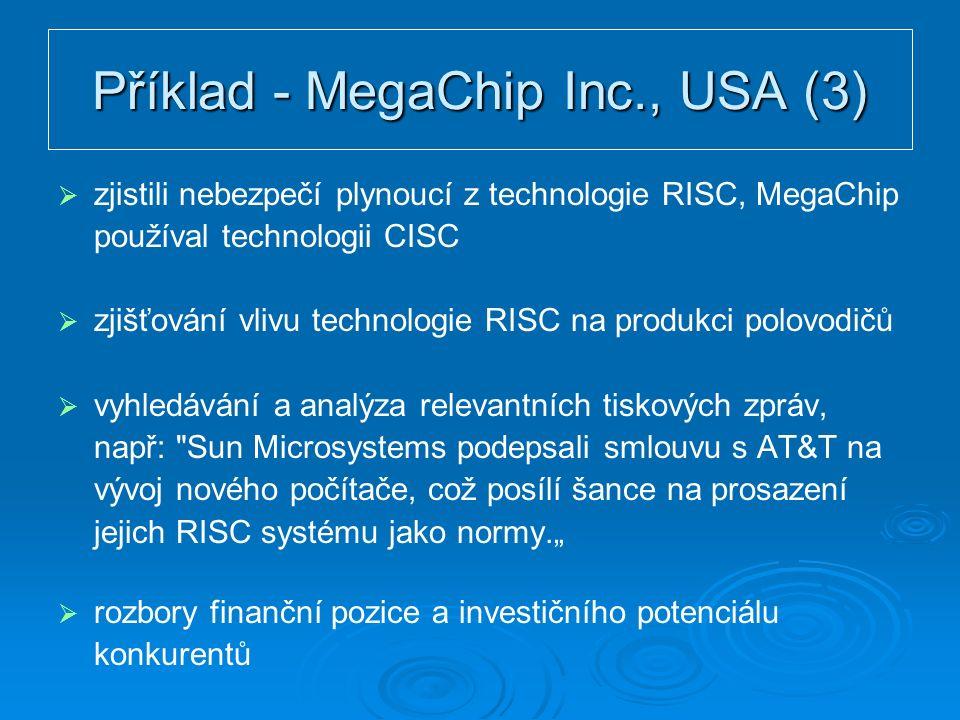 """Příklad - MegaChip Inc., USA (3)   zjistili nebezpečí plynoucí z technologie RISC, MegaChip používal technologii CISC   zjišťování vlivu technologie RISC na produkci polovodičů   vyhledávání a analýza relevantních tiskových zpráv, např: Sun Microsystems podepsali smlouvu s AT&T na vývoj nového počítače, což posílí šance na prosazení jejich RISC systému jako normy.""""   rozbory finanční pozice a investičního potenciálu konkurentů"""