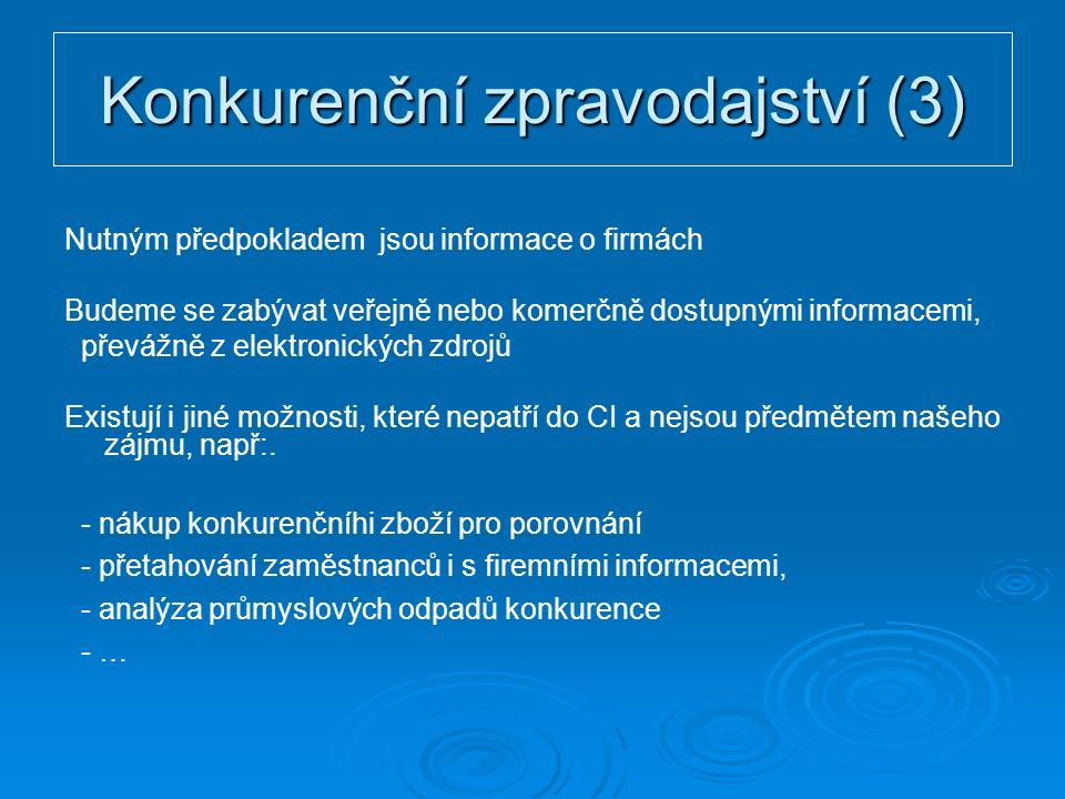 Konkurenční zpravodajství (3) Nutným předpokladem jsou informace o firmách Budeme se zabývat veřejně nebo komerčně dostupnými informacemi, převážně z elektronických zdrojů Existují i jiné možnosti, které nepatří do CI a nejsou předmětem našeho zájmu, např:.