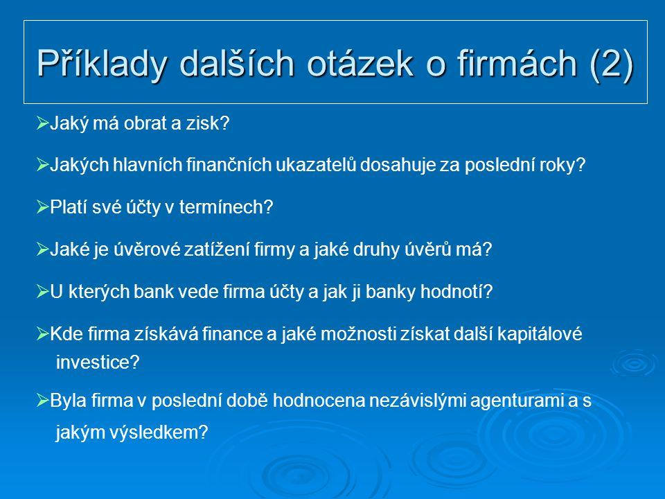 Příklady dalších otázek o firmách (2)  Jaký má obrat a zisk?  Jakých hlavních finančních ukazatelů dosahuje za poslední roky?  Platí své účty v ter