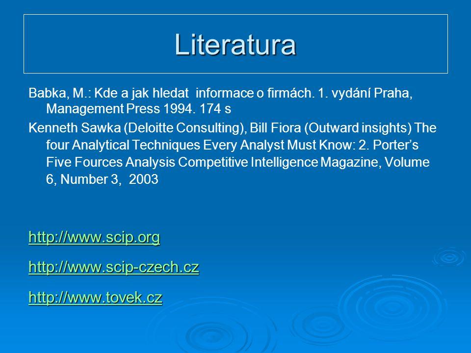 Literatura Babka, M.: Kde a jak hledat informace o firmách.