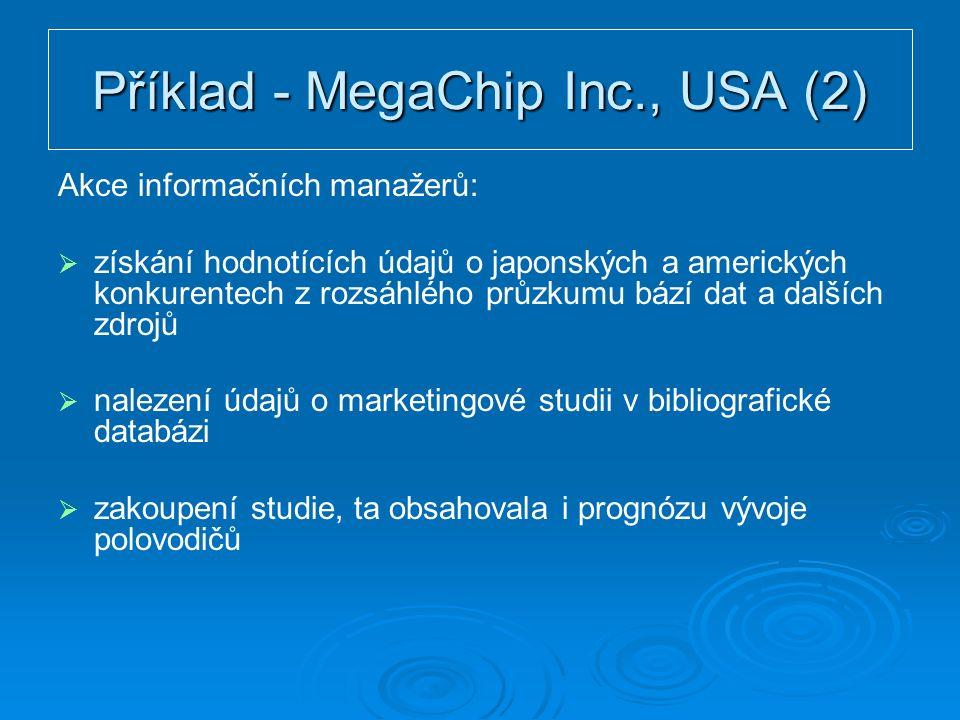 Příklad - MegaChip Inc., USA (2) Akce informačních manažerů:   získání hodnotících údajů o japonských a amerických konkurentech z rozsáhlého průzkumu bází dat a dalších zdrojů   nalezení údajů o marketingové studii v bibliografické databázi   zakoupení studie, ta obsahovala i prognózu vývoje polovodičů
