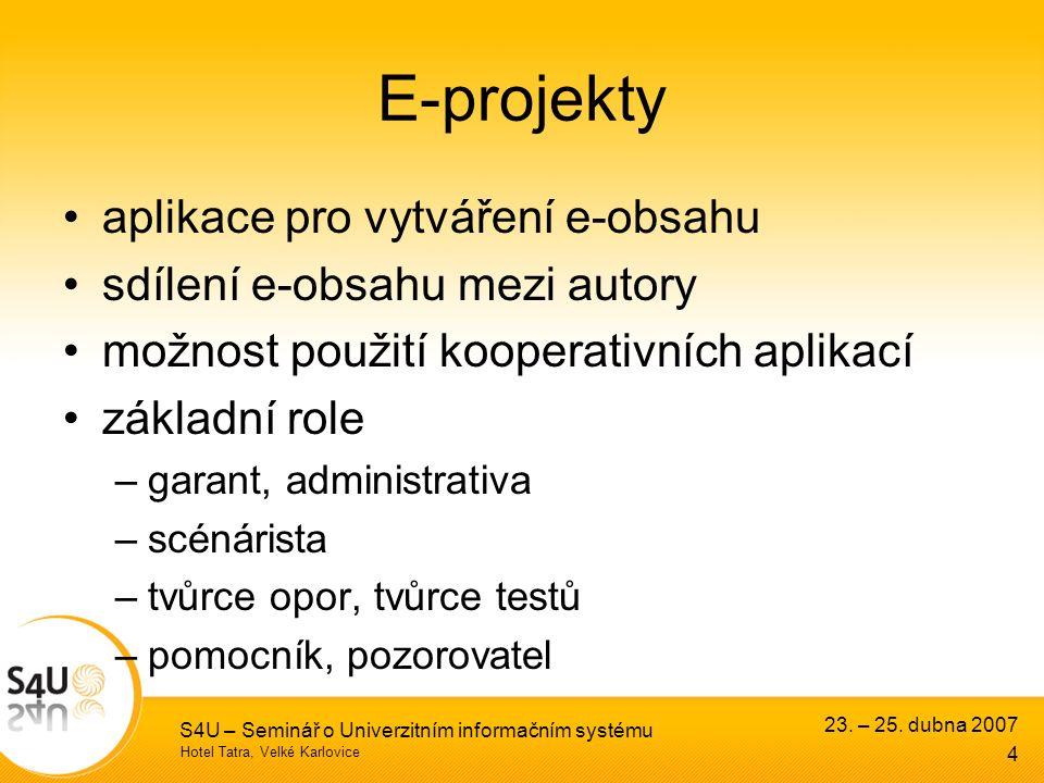 Hotel Tatra, Velké Karlovice 23. – 25. dubna 2007 S4U – Seminář o Univerzitním informačním systému 4 E-projekty aplikace pro vytváření e-obsahu sdílen