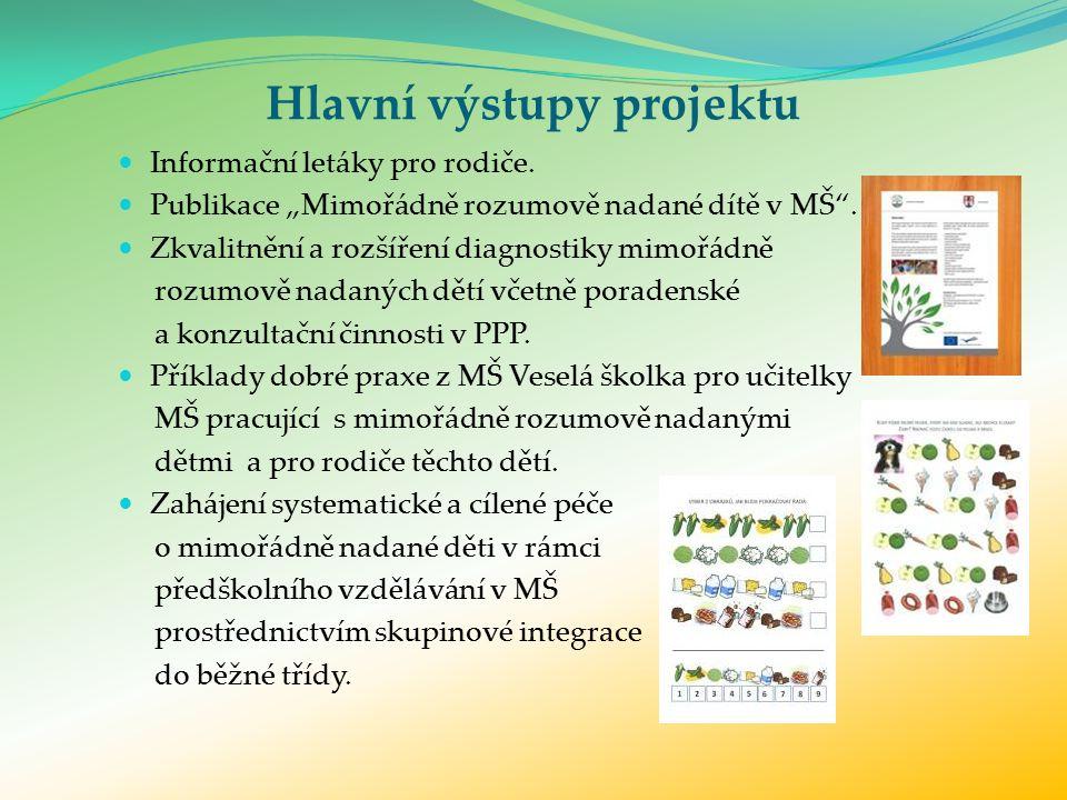 Hlavní výstupy projektu Informační letáky pro rodiče.