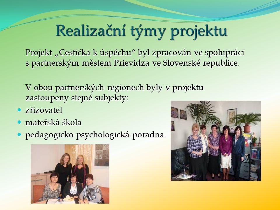 """Realizační týmy projektu Projekt """"Cestička k úspěchu byl zpracován ve spolupráci s partnerským městem Prievidza ve Slovenské republice."""