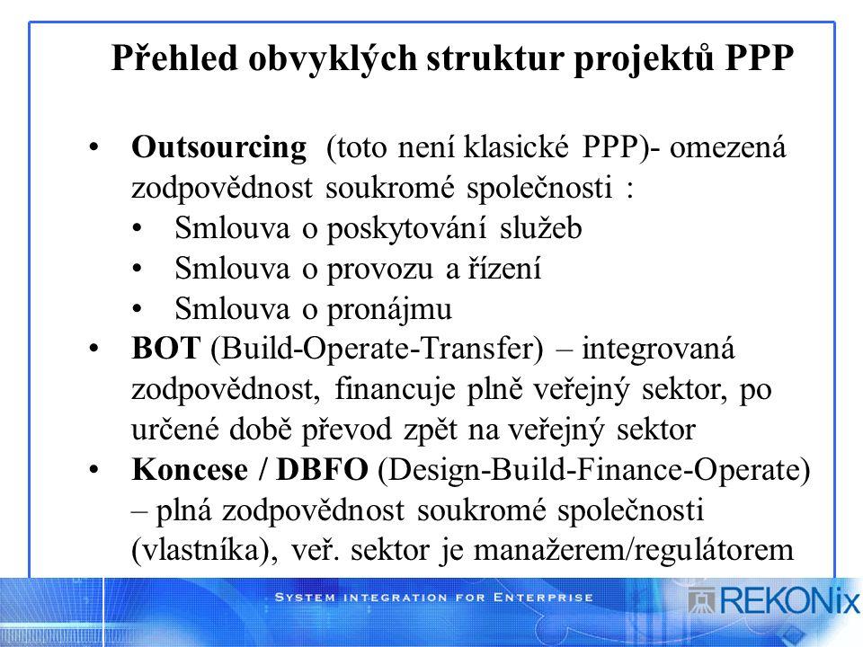 Outsourcing (toto není klasické PPP)- omezená zodpovědnost soukromé společnosti : Smlouva o poskytování služeb Smlouva o provozu a řízení Smlouva o pronájmu BOT (Build-Operate-Transfer) – integrovaná zodpovědnost, financuje plně veřejný sektor, po určené době převod zpět na veřejný sektor Koncese / DBFO (Design-Build-Finance-Operate) – plná zodpovědnost soukromé společnosti (vlastníka), veř.