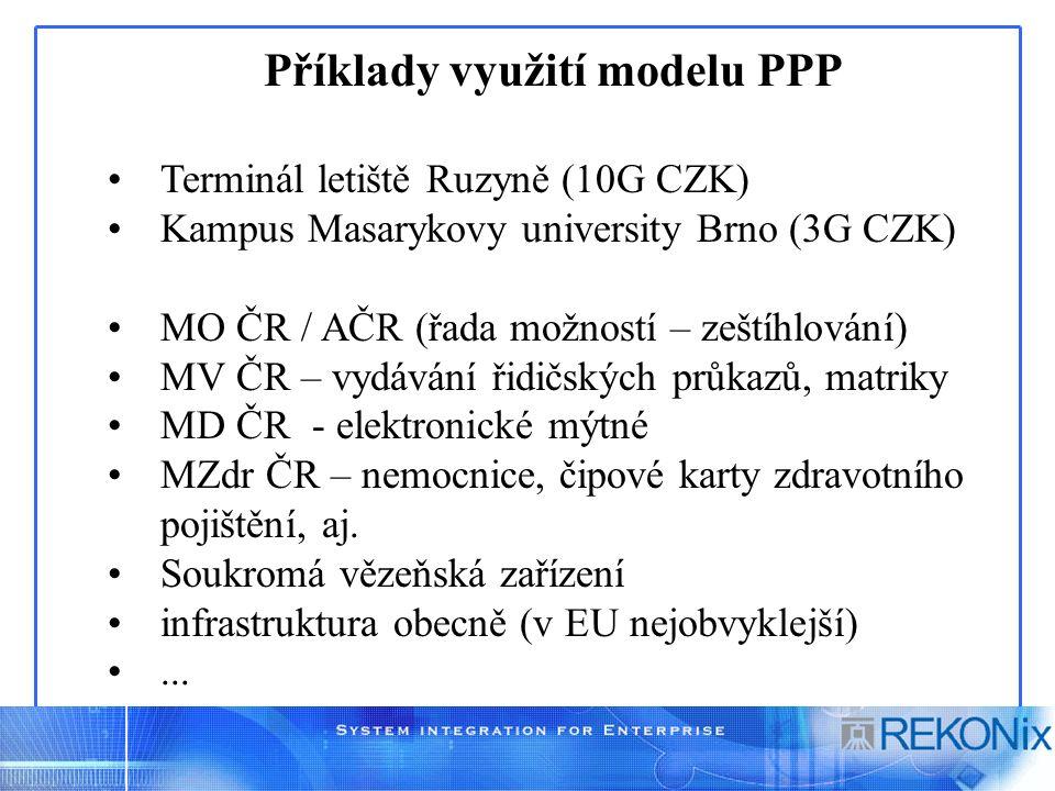 Příklady využití modelu PPP Terminál letiště Ruzyně (10G CZK) Kampus Masarykovy university Brno (3G CZK) MO ČR / AČR (řada možností – zeštíhlování) MV