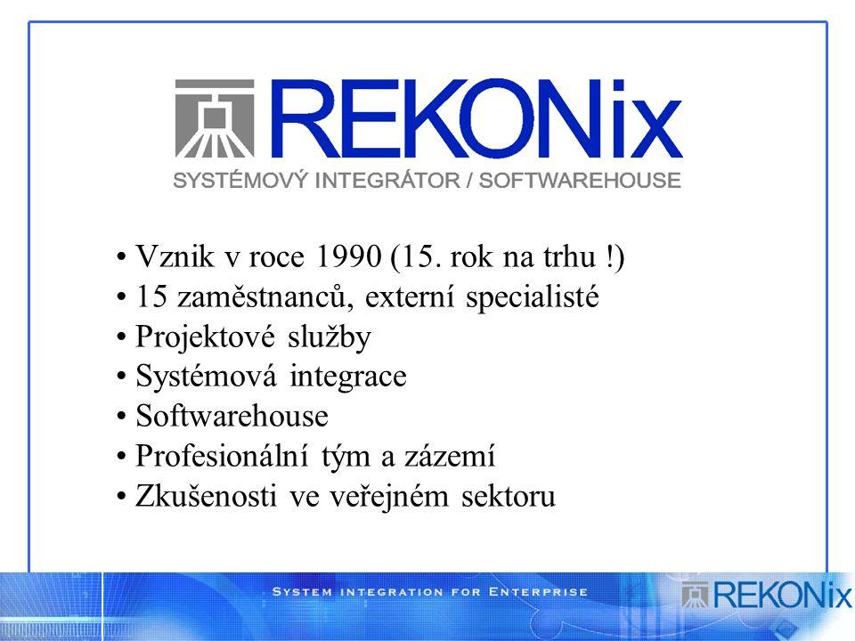 Vznik v roce 1990 (15. rok na trhu !) 15 zaměstnanců, externí specialisté Projektové služby Systémová integrace Softwarehouse Profesionální tým a záze