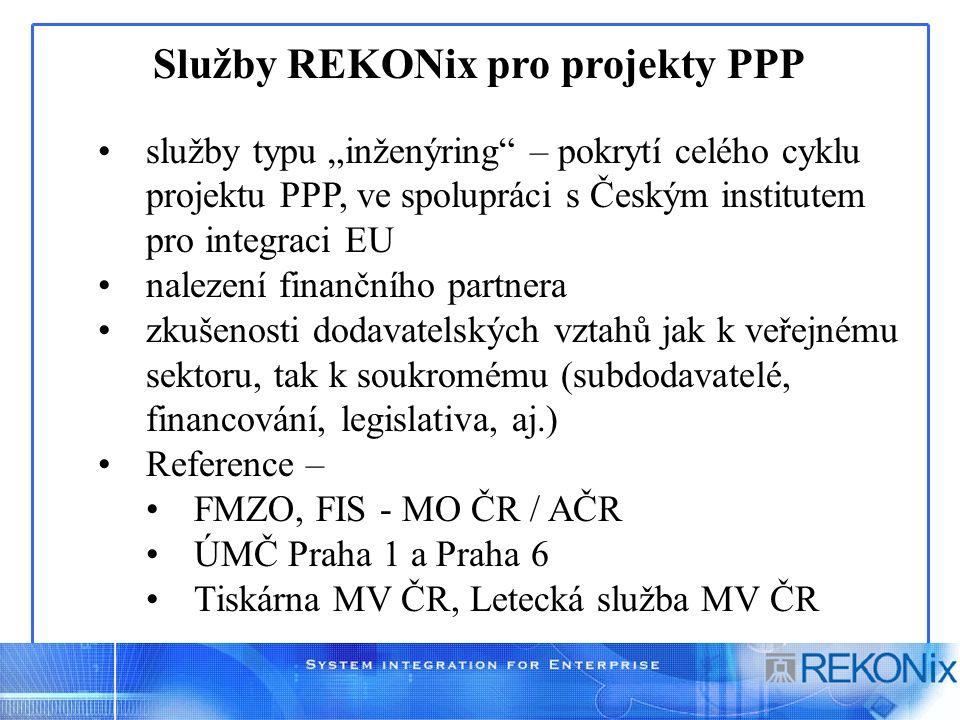 """Služby REKONix pro projekty PPP služby typu """"inženýring"""" – pokrytí celého cyklu projektu PPP, ve spolupráci s Českým institutem pro integraci EU nalez"""