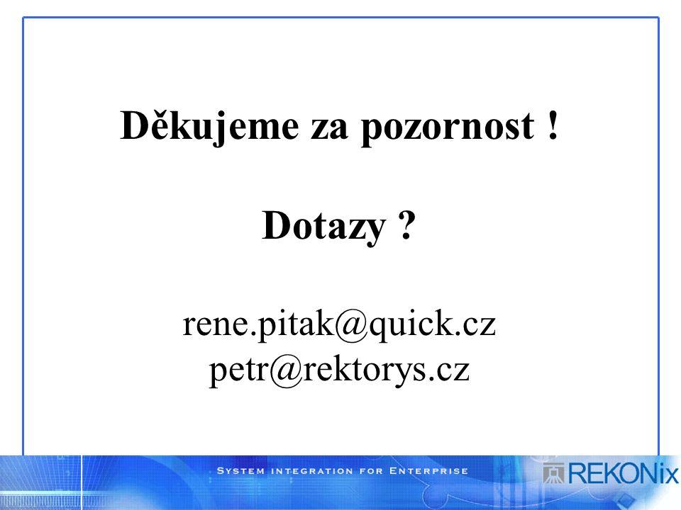 Děkujeme za pozornost ! Dotazy ? rene.pitak@quick.cz petr@rektorys.cz