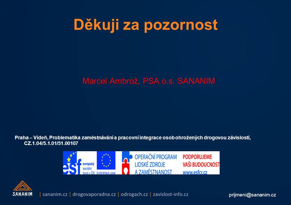 prijmeni@sananim.cz Děkuji za pozornost Marcel Ambrož, PSA o.s. SANANIM Praha – Vídeň, Problematika zaměstnávání a pracovní integrace osob ohrožených