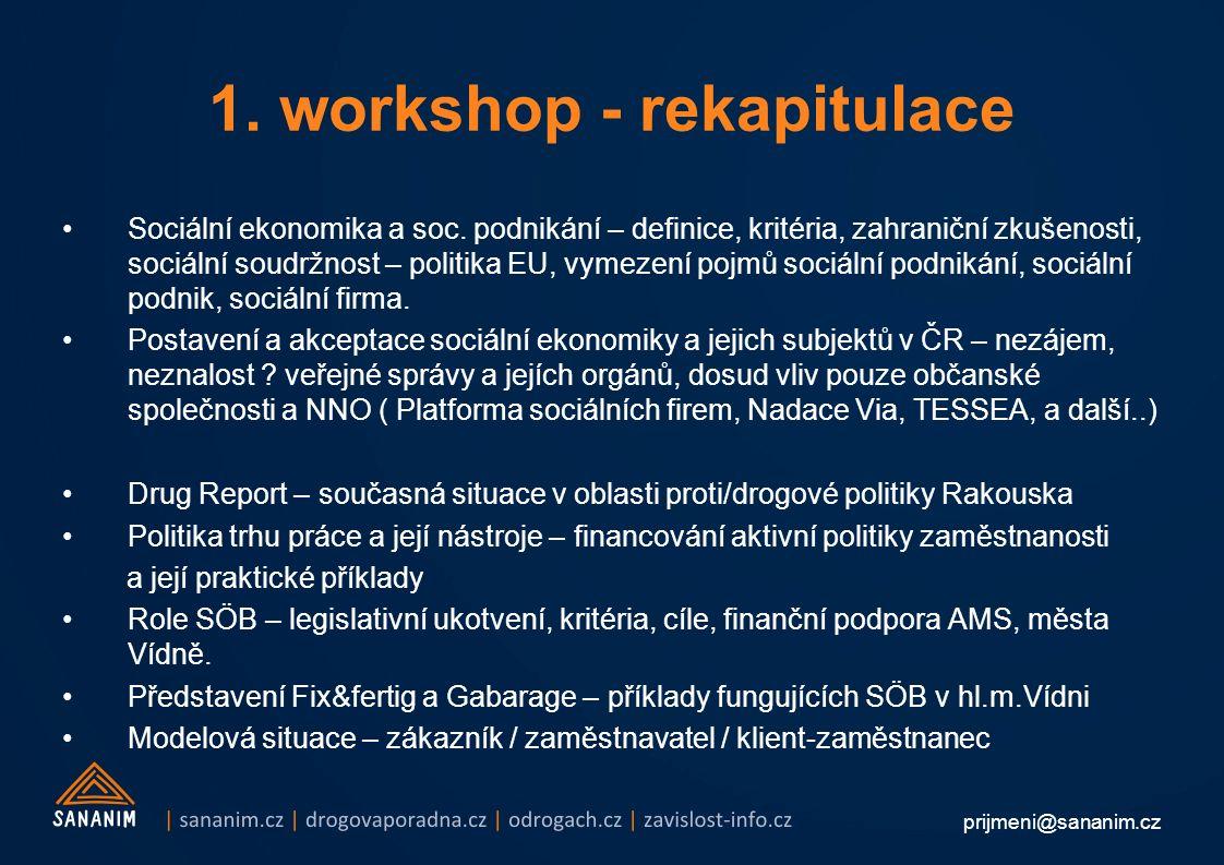 prijmeni@sananim.cz 1. workshop - rekapitulace Sociální ekonomika a soc. podnikání – definice, kritéria, zahraniční zkušenosti, sociální soudržnost –
