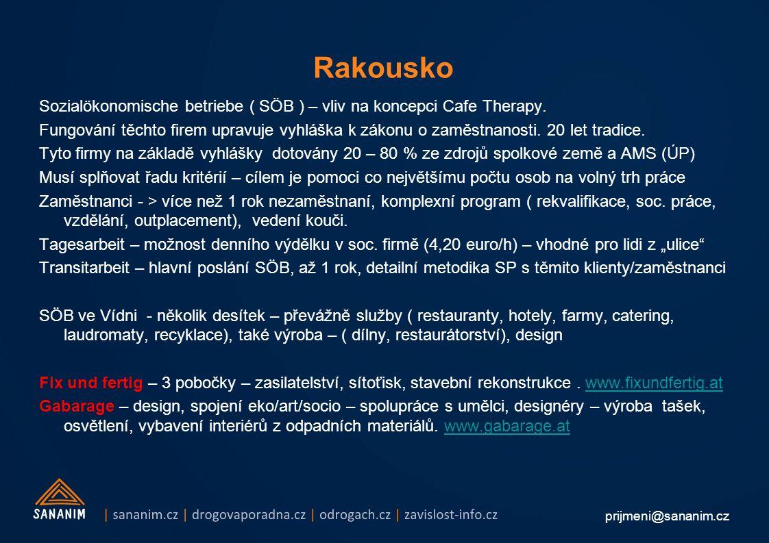 prijmeni@sananim.cz Rakousko Sozialökonomische betriebe ( SÖB ) – vliv na koncepci Cafe Therapy.