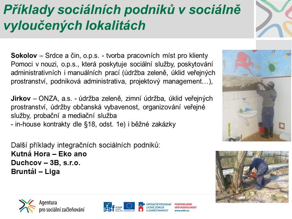 Příklady sociálních podniků v sociálně vyloučených lokalitách Další příklady integračních sociálních podniků: Kutná Hora – Eko ano Duchcov – 3B, s.r.o.