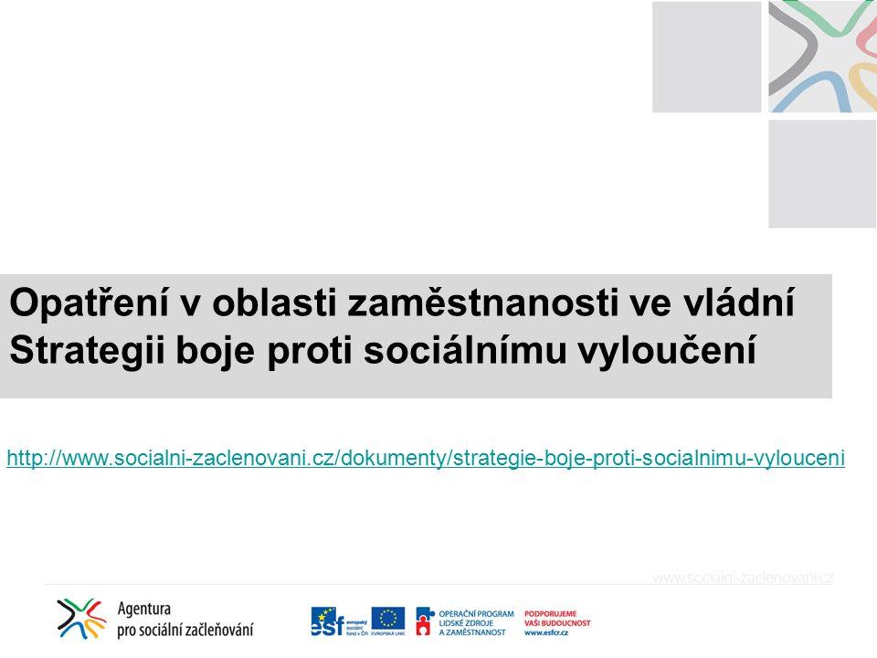 Opatření v oblasti zaměstnanosti ve vládní Strategii boje proti sociálnímu vyloučení http://www.socialni-zaclenovani.cz/dokumenty/strategie-boje-proti