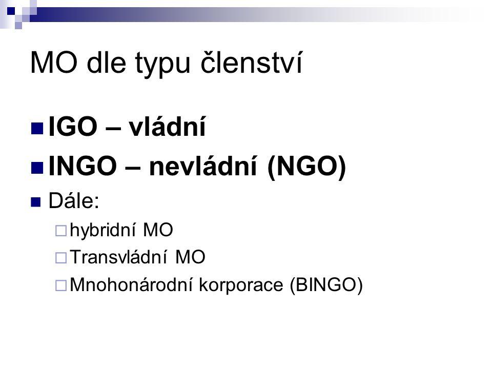 MO dle typu členství IGO – vládní INGO – nevládní (NGO) Dále:  hybridní MO  Transvládní MO  Mnohonárodní korporace (BINGO)