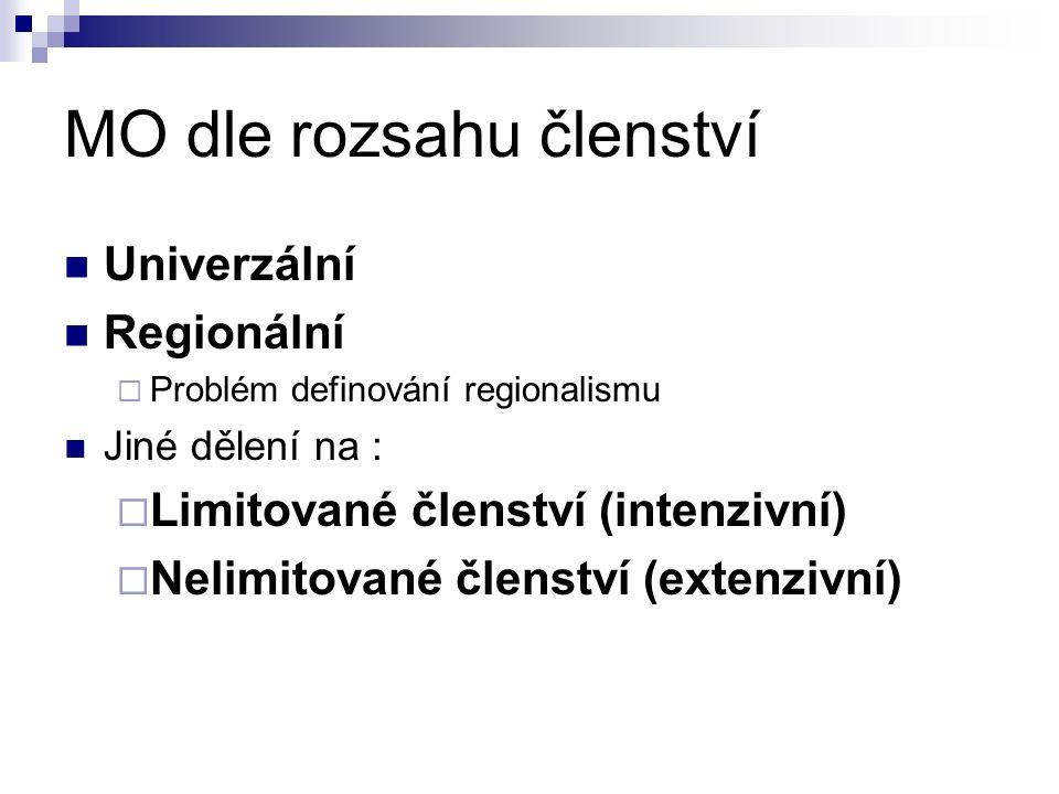 MO dle rozsahu členství Univerzální Regionální  Problém definování regionalismu Jiné dělení na :  Limitované členství (intenzivní)  Nelimitované členství (extenzivní)