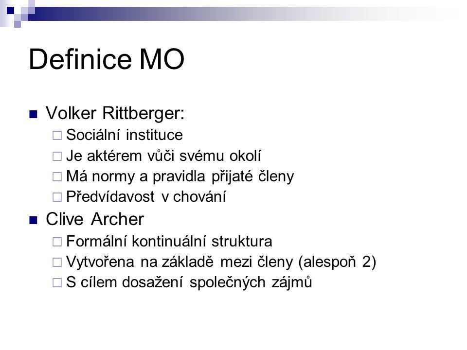 Definice MO Volker Rittberger:  Sociální instituce  Je aktérem vůči svému okolí  Má normy a pravidla přijaté členy  Předvídavost v chování Clive Archer  Formální kontinuální struktura  Vytvořena na základě mezi členy (alespoň 2)  S cílem dosažení společných zájmů