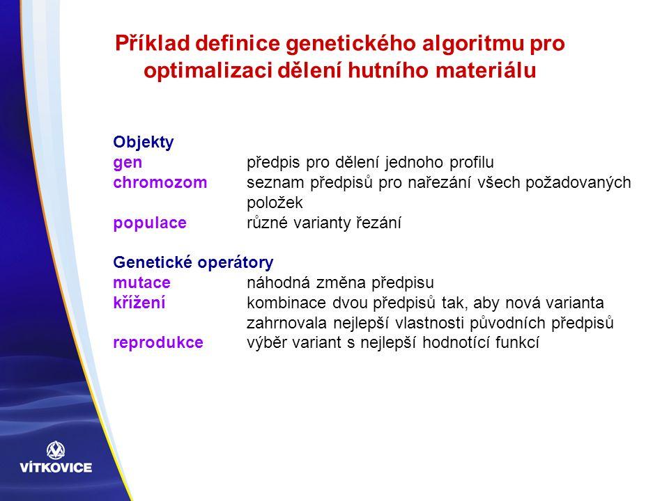Příklad definice genetického algoritmu pro optimalizaci dělení hutního materiálu Objekty gen předpis pro dělení jednoho profilu chromozom seznam předpisů pro nařezání všech požadovaných položek populace různé varianty řezání Genetické operátory mutace náhodná změna předpisu kříženíkombinace dvou předpisů tak, aby nová varianta zahrnovala nejlepší vlastnosti původních předpisů reprodukcevýběr variant s nejlepší hodnotící funkcí