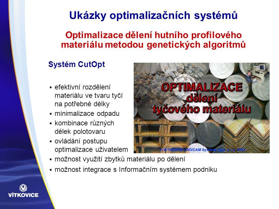 Ukázky optimalizačních systémů Optimalizace dělení hutního profilového materiálu metodou genetických algoritmů  efektivní rozdělení materiálu ve tvar