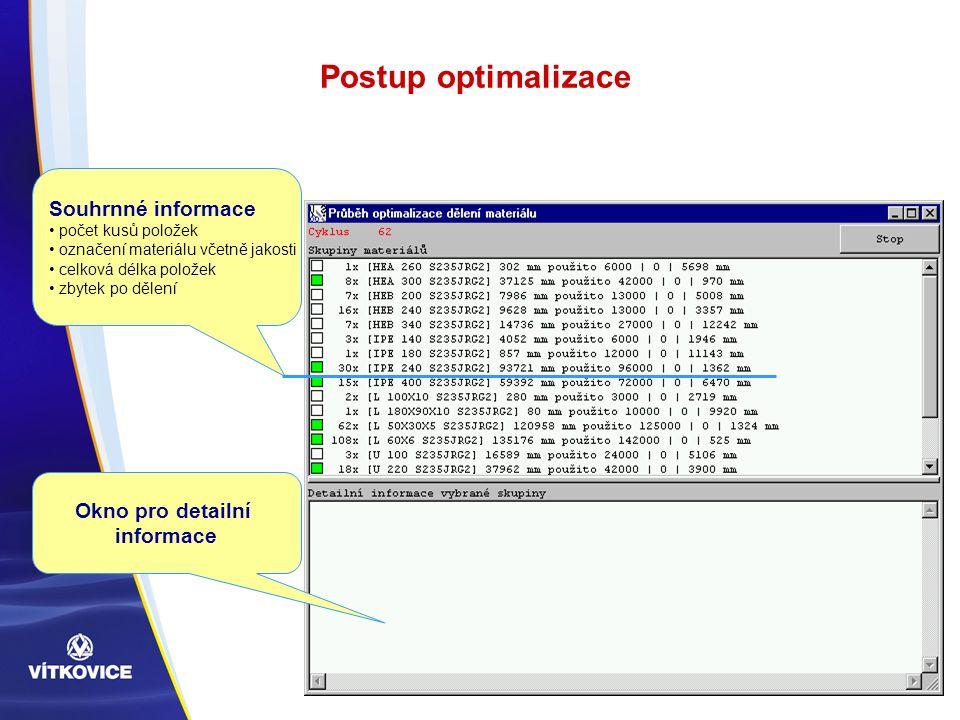Postup optimalizace Okno pro detailní informace Souhrnné informace počet kusů položek označení materiálu včetně jakosti celková délka položek zbytek po dělení