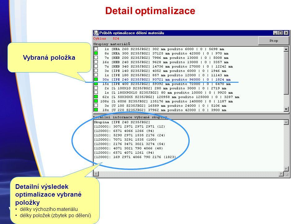 Detailní výsledek optimalizace vybrané položky délky výchozího materiálu délky položek (zbytek po dělení) Vybraná položka Detail optimalizace