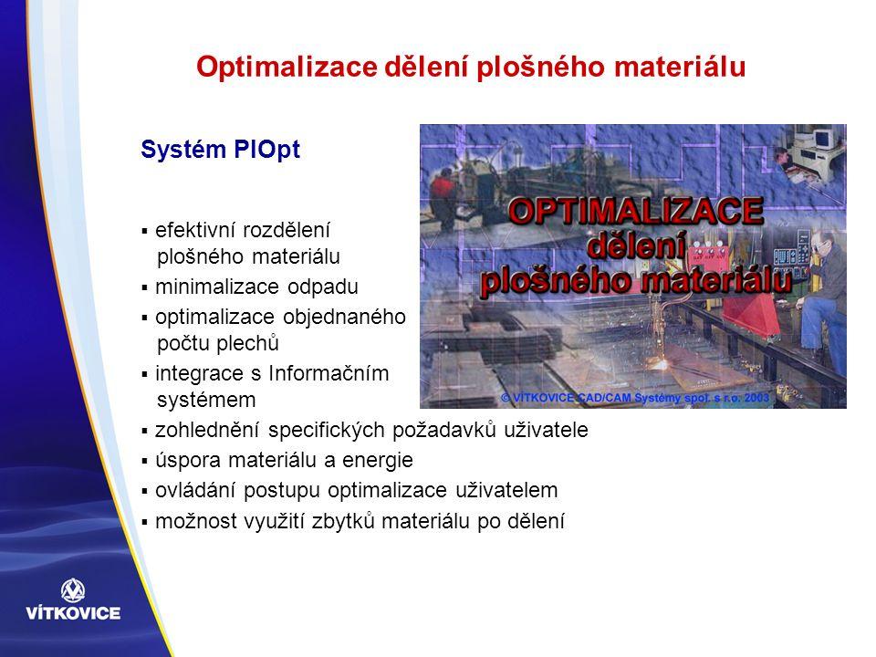 Optimalizace dělení plošného materiálu  efektivní rozdělení plošného materiálu  minimalizace odpadu  optimalizace objednaného počtu plechů  integr