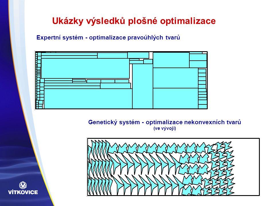 Ukázky výsledků plošné optimalizace Expertní systém - optimalizace pravoúhlých tvarů Genetický systém - optimalizace nekonvexních tvarů (ve vývoji)