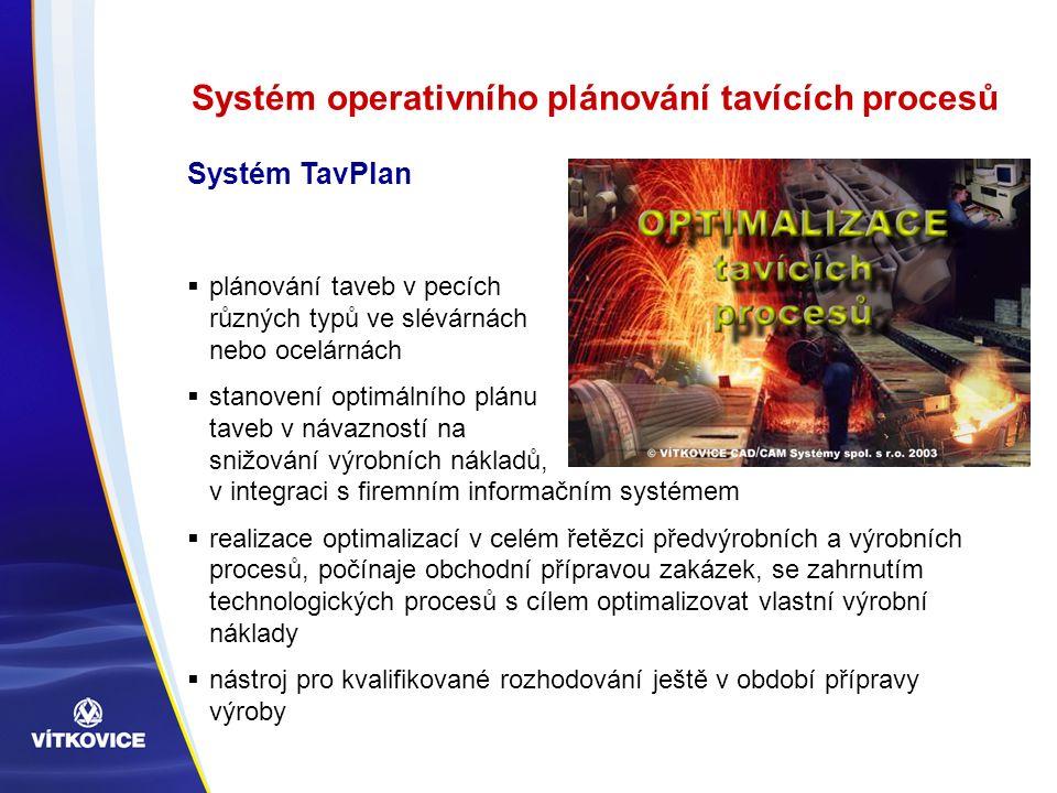 Systém operativního plánování tavících procesů  plánování taveb v pecích různých typů ve slévárnách nebo ocelárnách  stanovení optimálního plánu taveb v návazností na snižování výrobních nákladů, v integraci s firemním informačním systémem  realizace optimalizací v celém řetězci předvýrobních a výrobních procesů, počínaje obchodní přípravou zakázek, se zahrnutím technologických procesů s cílem optimalizovat vlastní výrobní náklady  nástroj pro kvalifikované rozhodování ještě v období přípravy výroby Systém TavPlan