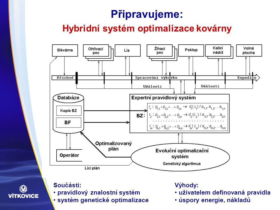 Připravujeme: Hybridní systém optimalizace kovárny Součásti: pravidlový znalostní systém systém genetické optimalizace Výhody: uživatelem definovaná pravidla úspory energie, nákladů