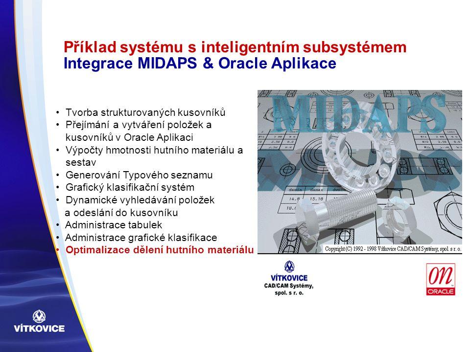 Příklad systému s inteligentním subsystémem Integrace MIDAPS & Oracle Aplikace Tvorba strukturovaných kusovníků Přejímání a vytváření položek a kusovn