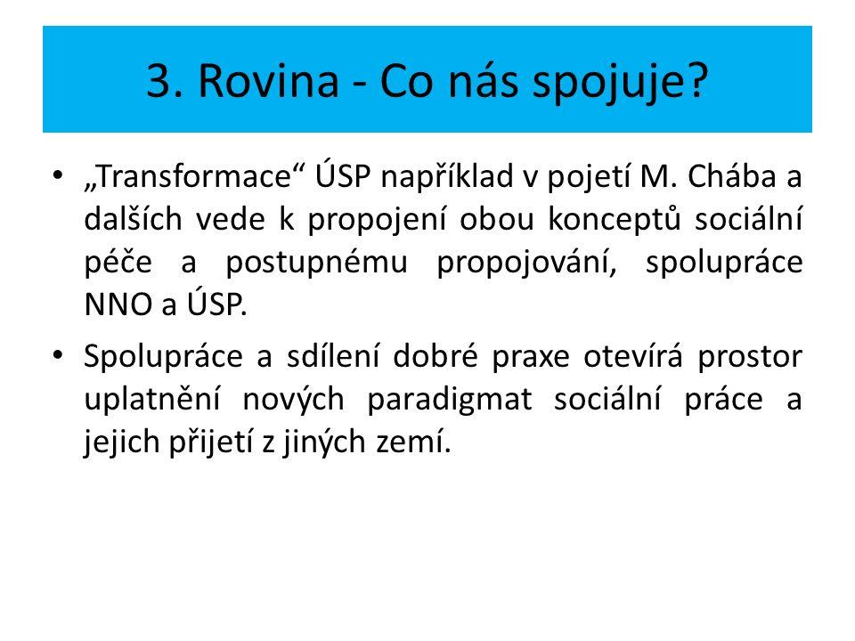 """3. Rovina - Co nás spojuje? """"Transformace"""" ÚSP například v pojetí M. Chába a dalších vede k propojení obou konceptů sociální péče a postupnému propojo"""