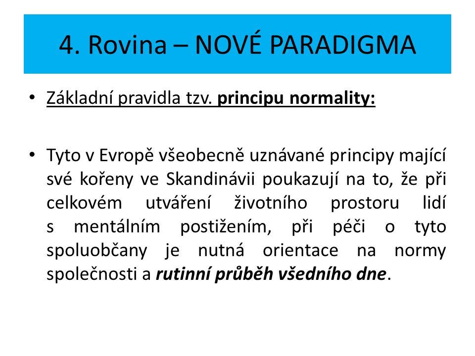 4. Rovina – NOVÉ PARADIGMA Základní pravidla tzv. principu normality: Tyto v Evropě všeobecně uznávané principy mající své kořeny ve Skandinávii pouka