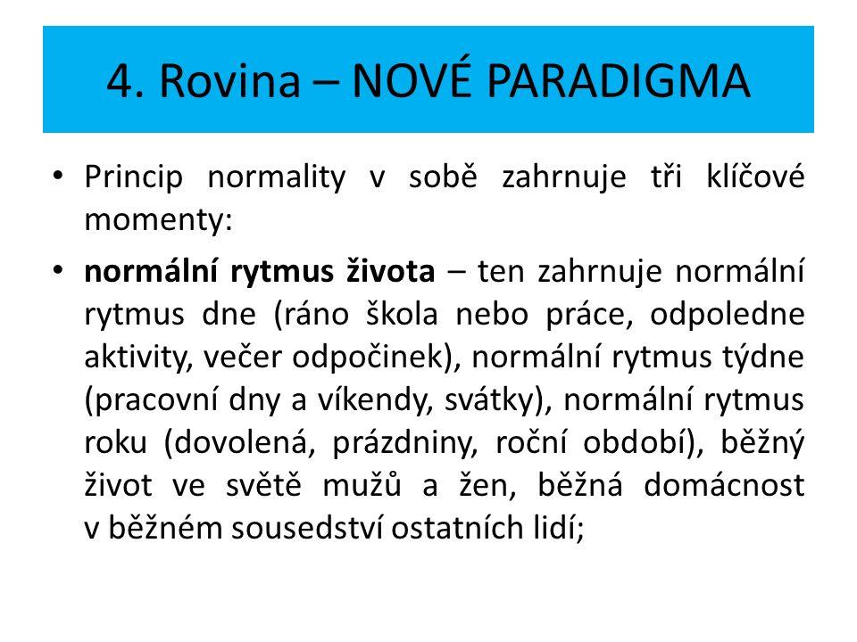 4. Rovina – NOVÉ PARADIGMA Princip normality v sobě zahrnuje tři klíčové momenty: normální rytmus života – ten zahrnuje normální rytmus dne (ráno škol