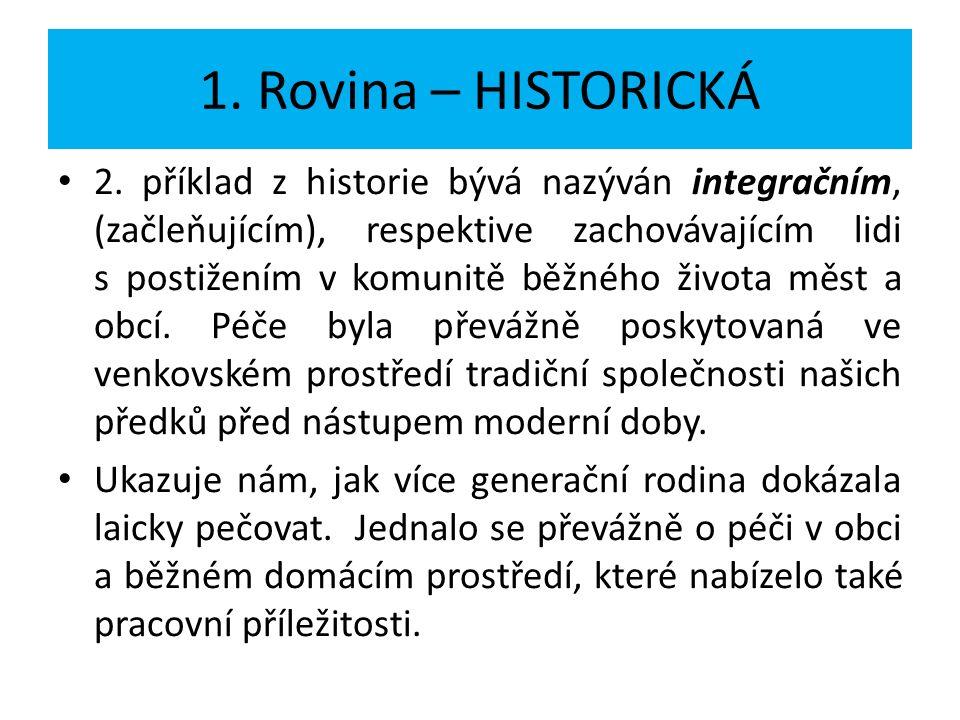 1. Rovina – HISTORICKÁ 2. příklad z historie bývá nazýván integračním, (začleňujícím), respektive zachovávajícím lidi s postižením v komunitě běžného
