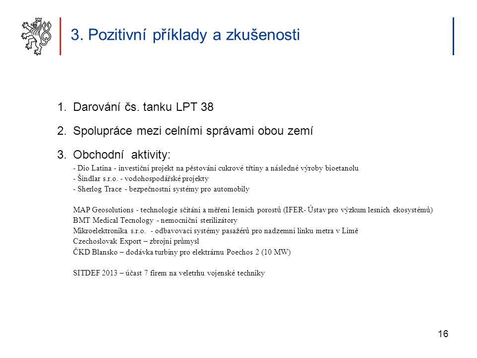 16 3. Pozitivní příklady a zkušenosti 1.Darování čs. tanku LPT 38 2.Spolupráce mezi celními správami obou zemí 3.Obchodní aktivity: - Dio Latina - inv