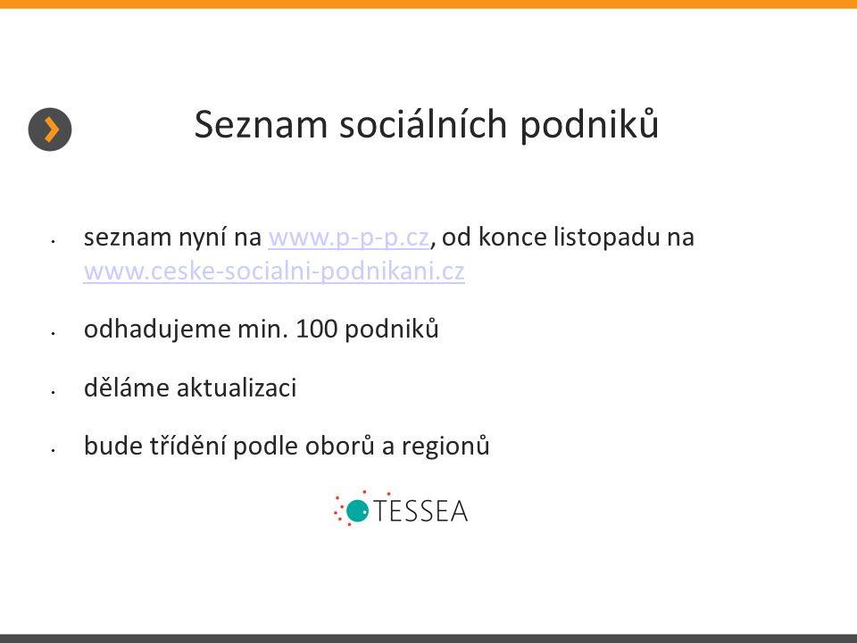 Seznam sociálních podniků seznam nyní na www.p-p-p.cz, od konce listopadu na www.ceske-socialni-podnikani.czwww.p-p-p.cz www.ceske-socialni-podnikani.cz odhadujeme min.
