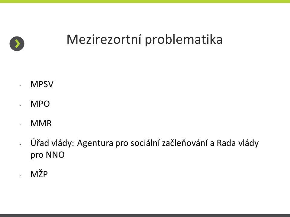 Mezirezortní problematika MPSV MPO MMR Úřad vlády: Agentura pro sociální začleňování a Rada vlády pro NNO MŽP
