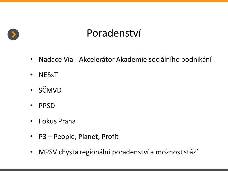 Poradenství Nadace Via - Akcelerátor Akademie sociálního podnikání NESsT SČMVD PPSD Fokus Praha P3 – People, Planet, Profit MPSV chystá regionální poradenství a možnost stáží