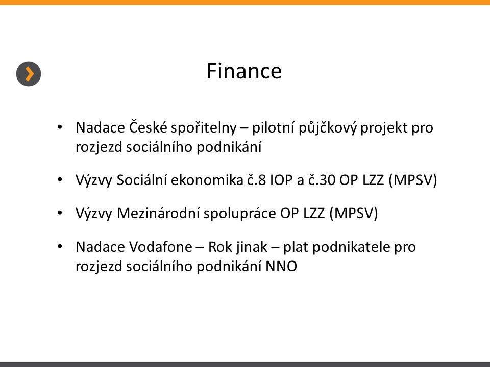 Finance Nadace České spořitelny – pilotní půjčkový projekt pro rozjezd sociálního podnikání Výzvy Sociální ekonomika č.8 IOP a č.30 OP LZZ (MPSV) Výzvy Mezinárodní spolupráce OP LZZ (MPSV) Nadace Vodafone – Rok jinak – plat podnikatele pro rozjezd sociálního podnikání NNO