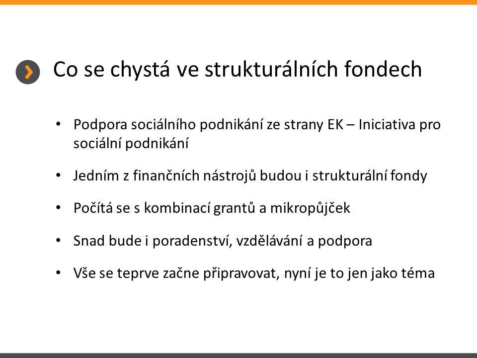 Co se chystá ve strukturálních fondech Podpora sociálního podnikání ze strany EK – Iniciativa pro sociální podnikání Jedním z finančních nástrojů budou i strukturální fondy Počítá se s kombinací grantů a mikropůjček Snad bude i poradenství, vzdělávání a podpora Vše se teprve začne připravovat, nyní je to jen jako téma