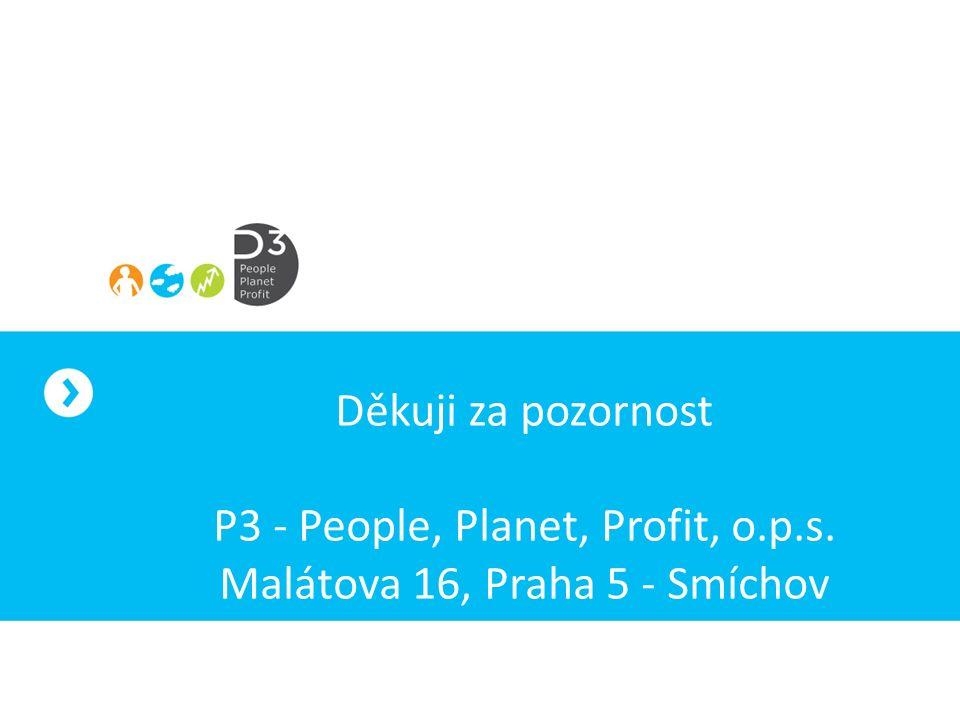 Děkuji za pozornost P3 - People, Planet, Profit, o.p.s. Malátova 16, Praha 5 - Smíchov