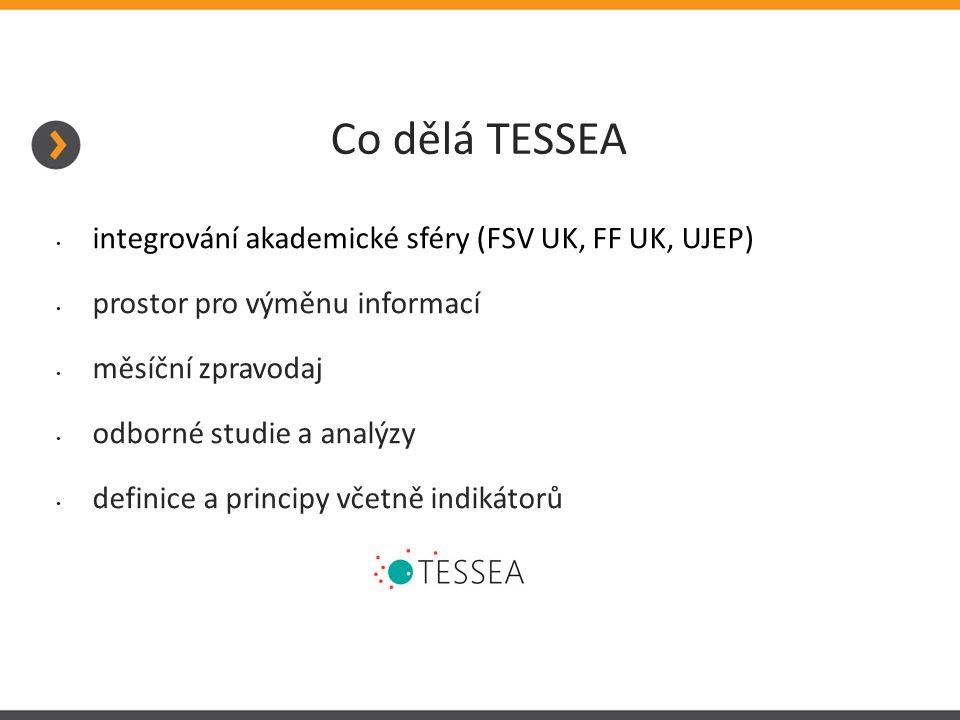 Co dělá TESSEA integrování akademické sféry (FSV UK, FF UK, UJEP) prostor pro výměnu informací měsíční zpravodaj odborné studie a analýzy definice a principy včetně indikátorů