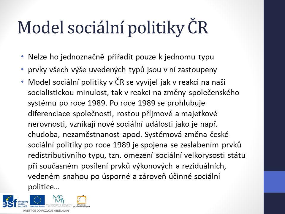 Model sociální politiky ČR Nelze ho jednoznačně přiřadit pouze k jednomu typu prvky všech výše uvedených typů jsou v ní zastoupeny Model sociální politiky v ČR se vyvíjel jak v reakci na naši socialistickou minulost, tak v reakci na změny společenského systému po roce 1989.