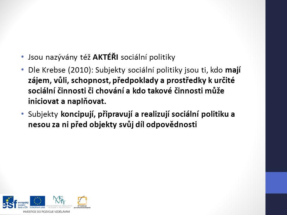 Jsou nazývány též AKTÉŘI sociální politiky Dle Krebse (2010): Subjekty sociální politiky jsou ti, kdo mají zájem, vůli, schopnost, předpoklady a prostředky k určité sociální činnosti či chování a kdo takové činnosti může iniciovat a naplňovat.