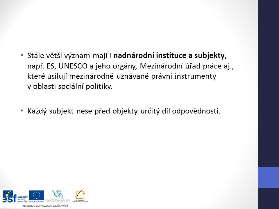Stále větší význam mají i nadnárodní instituce a subjekty, např.