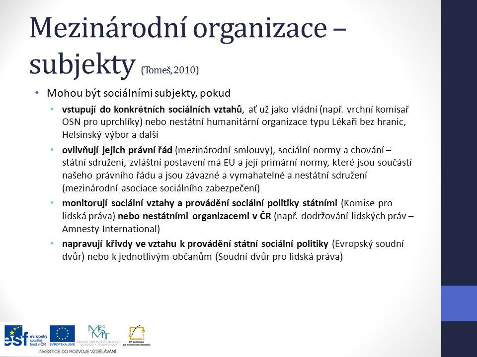 Mezinárodní organizace – subjekty (Tomeš, 2010) Mohou být sociálními subjekty, pokud vstupují do konkrétních sociálních vztahů, ať už jako vládní (např.